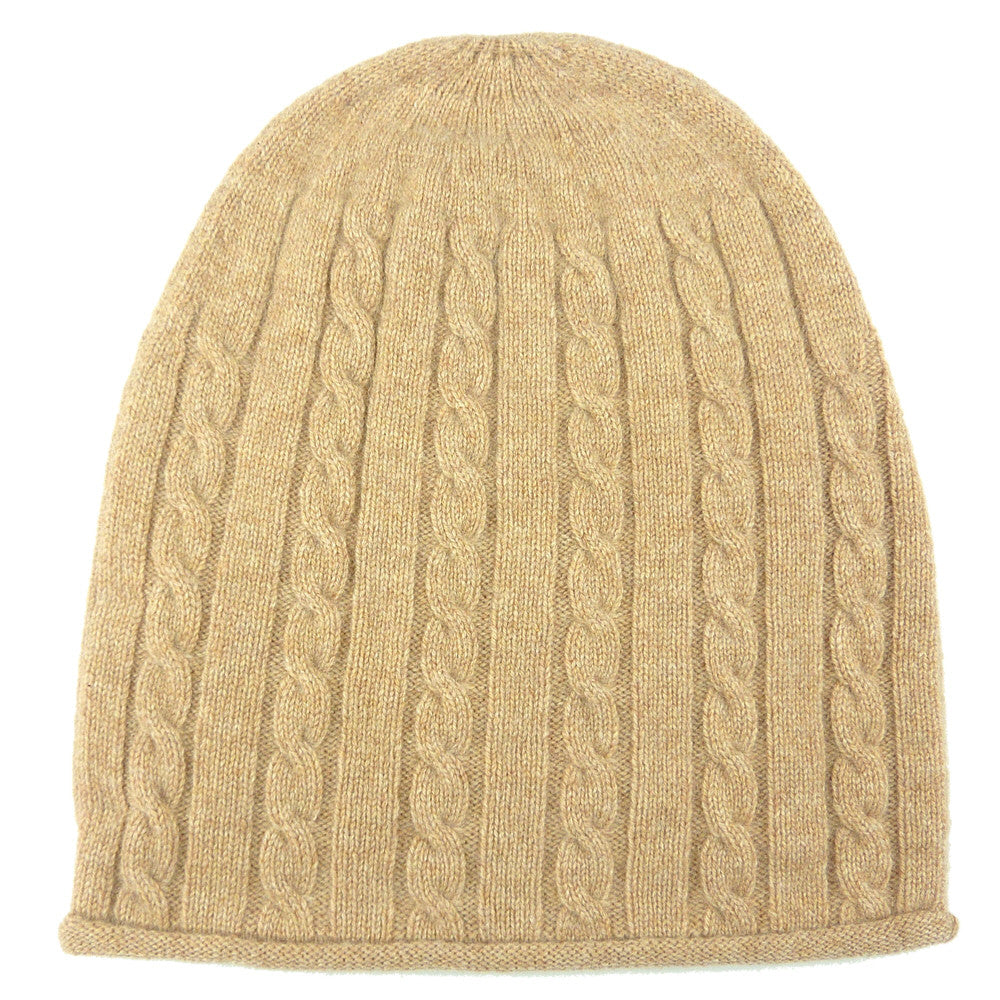 Luxury Cashmere Cable Knit Hat Vicuna