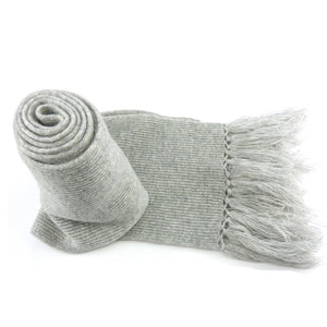 Siliver Grey Cashmere Scarves with Tassels