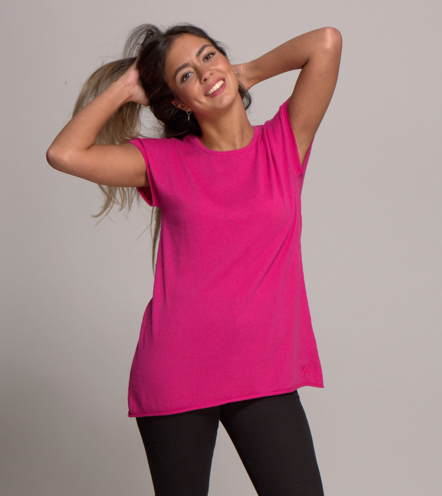 cap sleeve top cerise pink