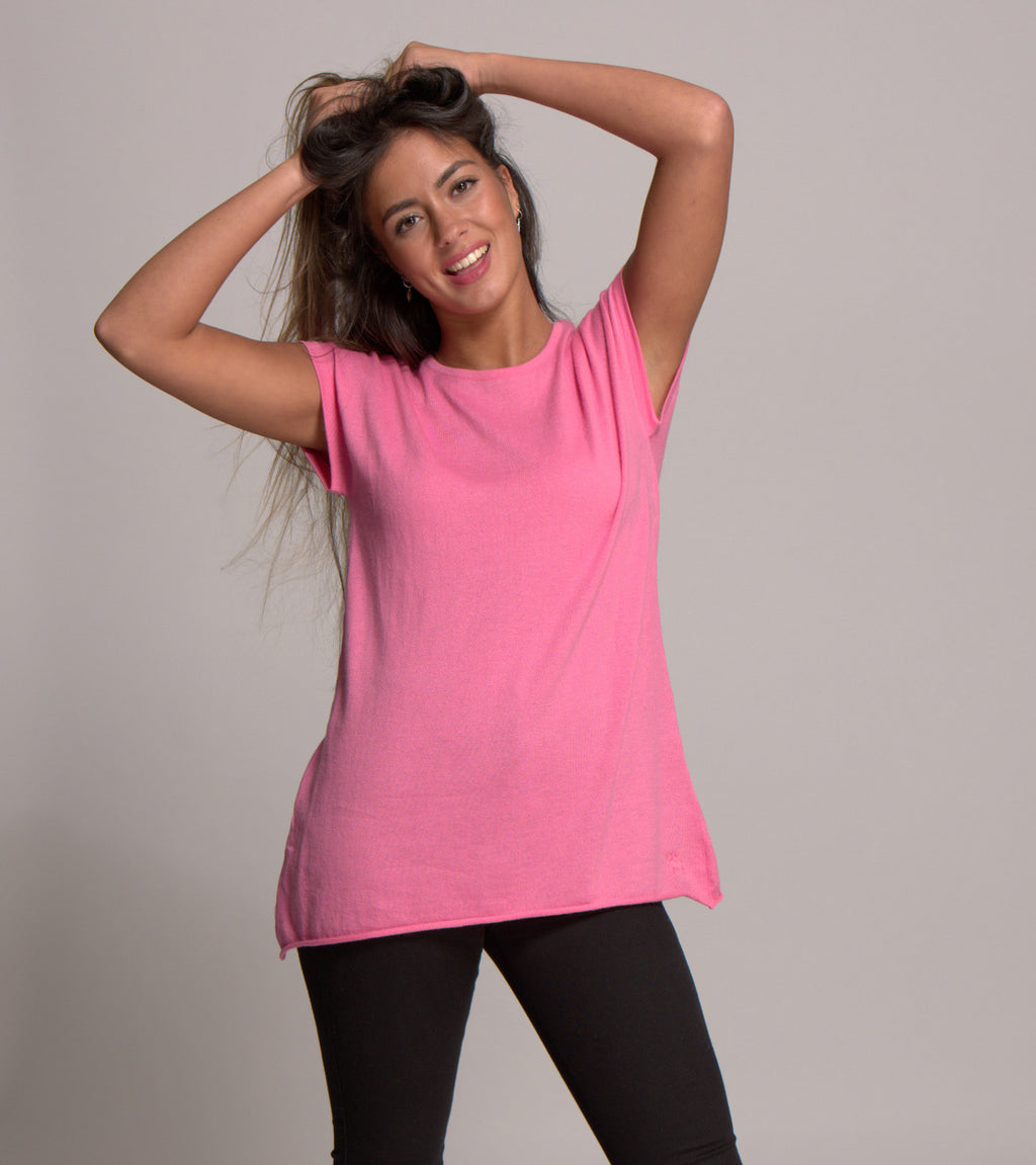Cap Sleeve Cashmere Blended Top Carnation