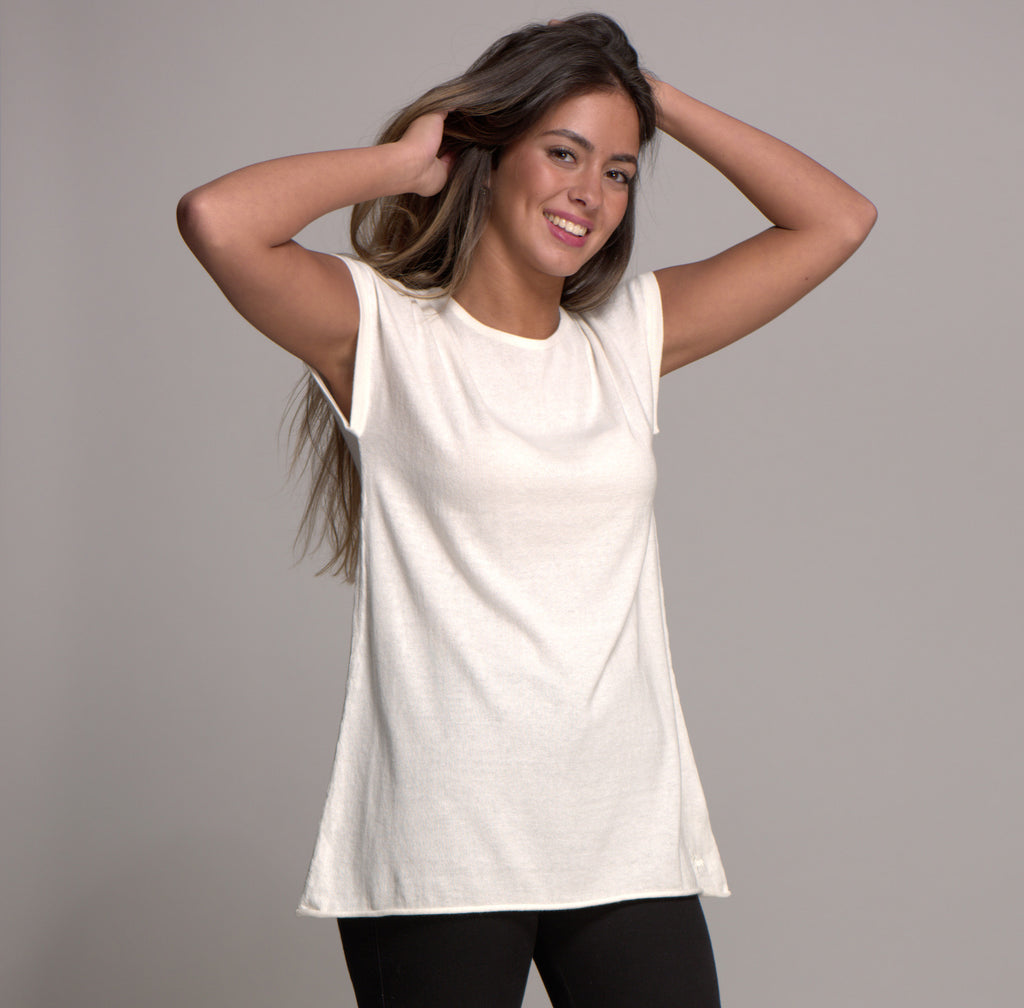 Cap Sleeve Cashmere Blended Top Snow