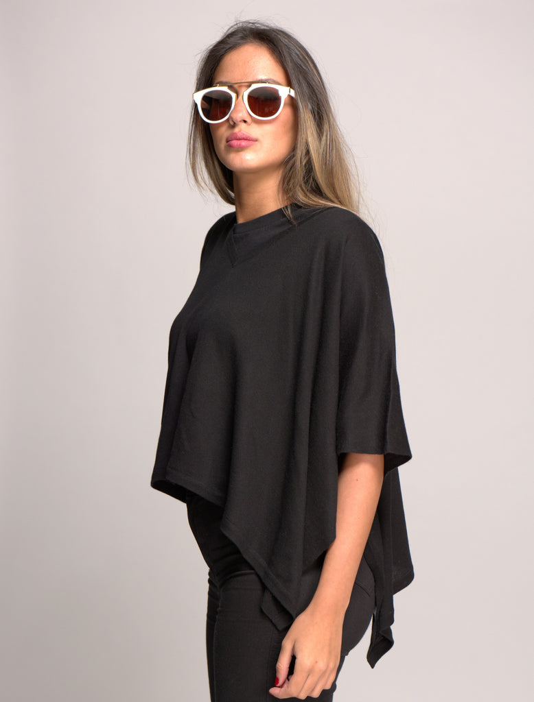V Neck Cashmere Blended Poncho Black
