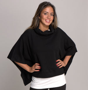 Cashmere Poncho with Cowl Neck and Pockets Black