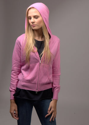 Cashmere Hoody with Zip Carnation Pink