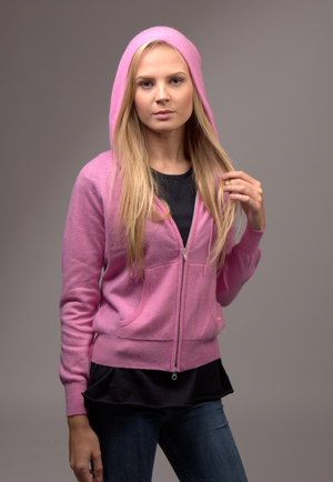 Cashmere zip up hoody carnation pink