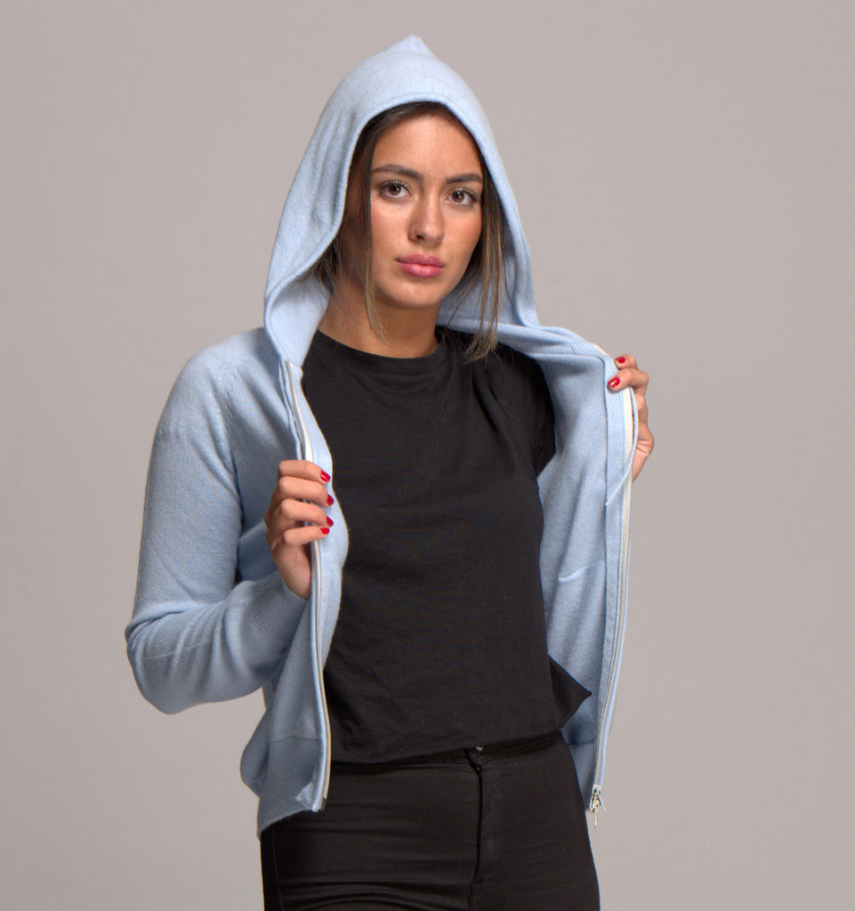 Cashmere Hoody with Zip Powder Blue