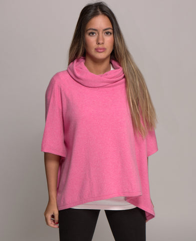 Pure Cashmere Poncho with Cowl Neck