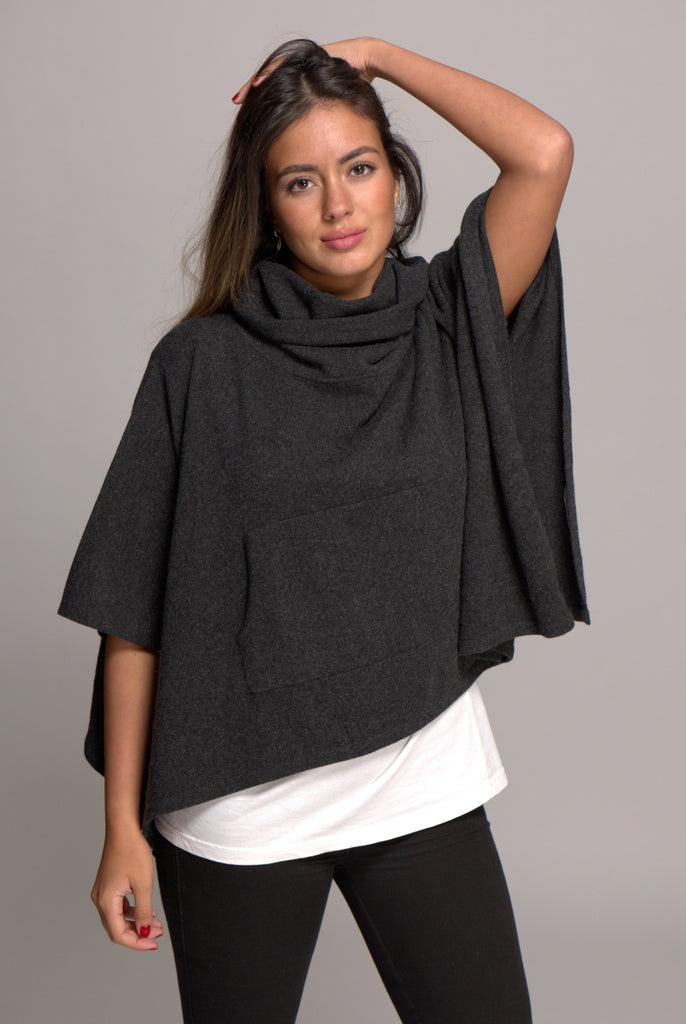 Cashmere Poncho with Cowl Neck Charcoal
