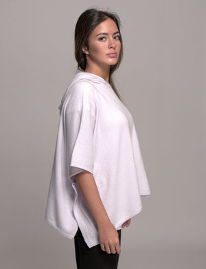 hooded cashmere poncho silver lilac