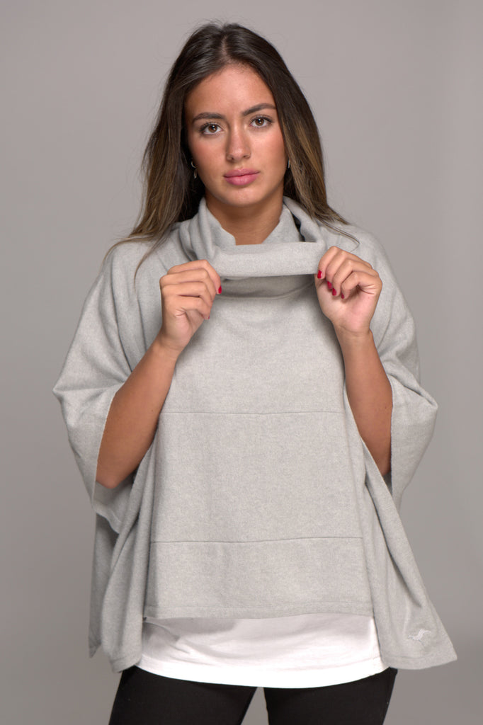Cowl Neck Cashmere Poncho Light Ash