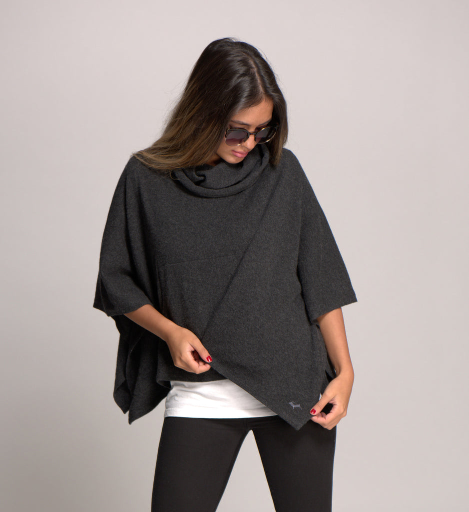 Cowl Neck Cashmere Poncho Charcoal