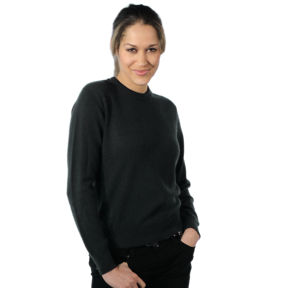 ladies round neck cashmere jumper black