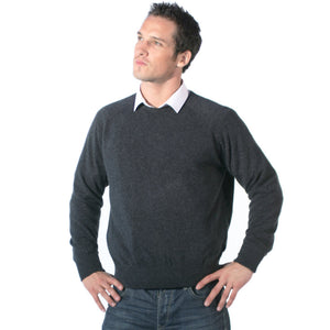 men's crew neck cashmere sweaters charcoal