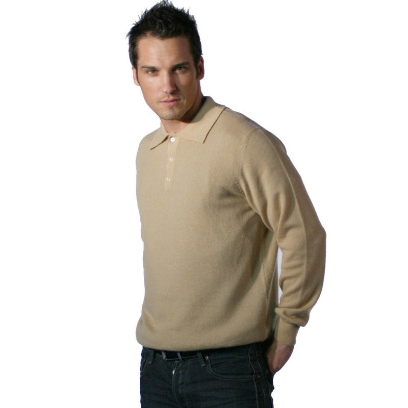Pure Cashmere Polo Shirt Camel