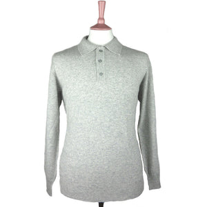 Pure Cashmere Polo Shirt Silver Grey