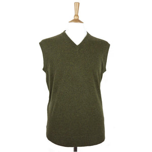 men's v neck cashmere slipover rural green