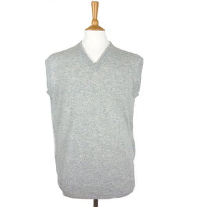 men's v neck cashmere slipover silver grey