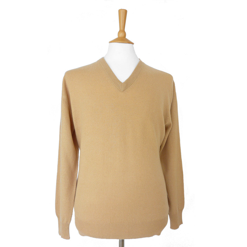 men's v neck cashmere jumper camel
