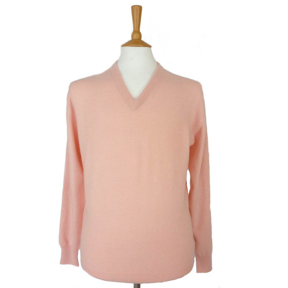men's v neck cashmere jumper seashell pink