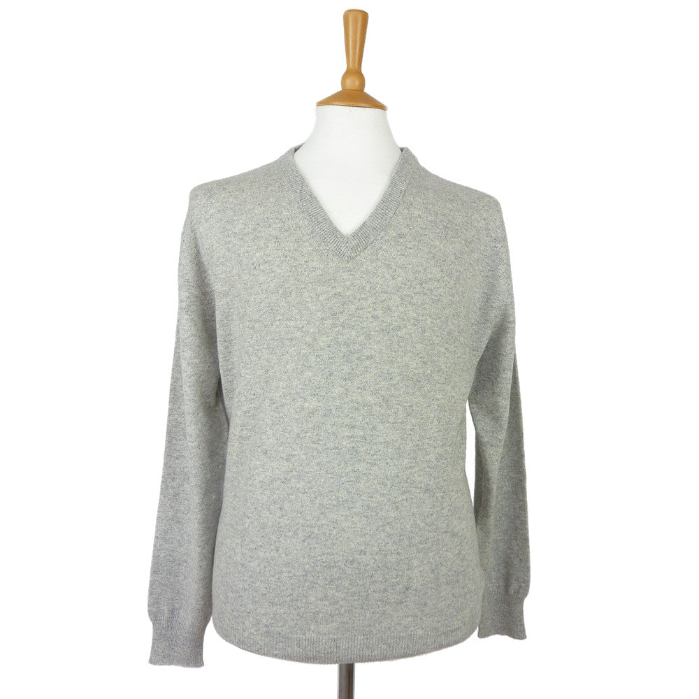 men's v neck cashmere jumper silver grey
