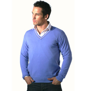 Men's Cashmere V Neck Jumper With Stripe Cornflower Blue and Soft Peach