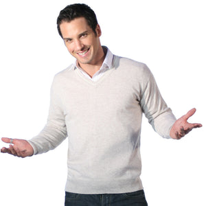 Men's Cashmere V Neck Jumper With Stripe Oatmeal and Snow