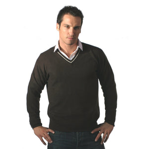 Men's Cashmere V Neck Jumper With Stripe Cocoa and Snow