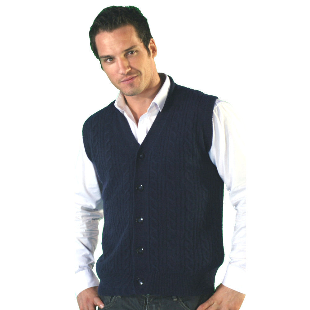 men's sleeveless cable knit cashmere cardigan mariner blue