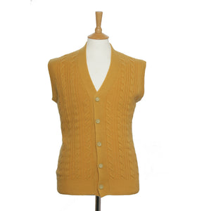men's sleeveless cable knit cashmere cardigan mustard