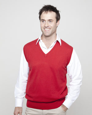 men's v neck cashmere slipover red admiral