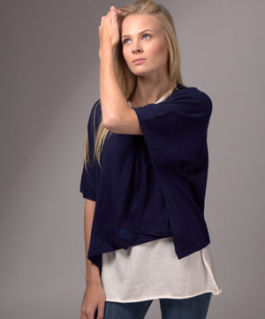 V Neck Cashmere Blended Poncho Navy Blue