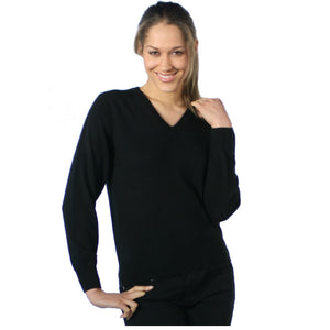 Women's Cashmere V Neck Jumpers Black