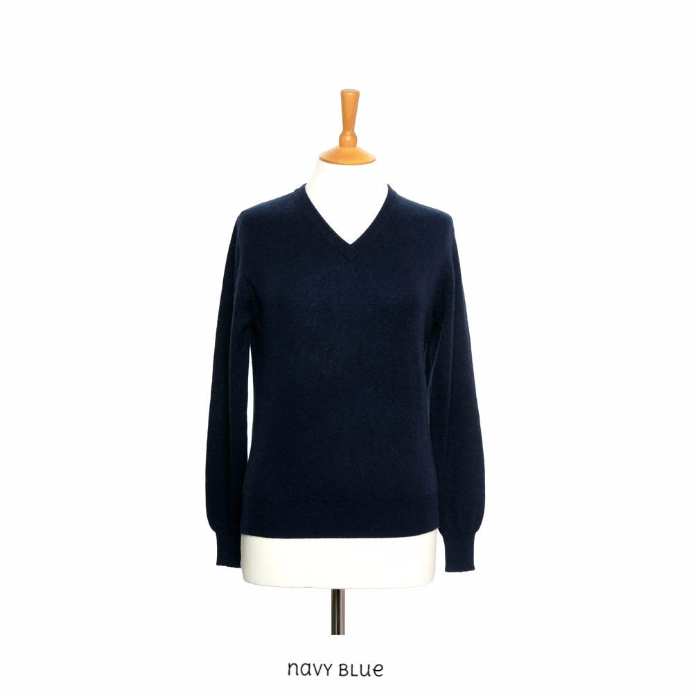 women's cashmere v neck jumper navy blue