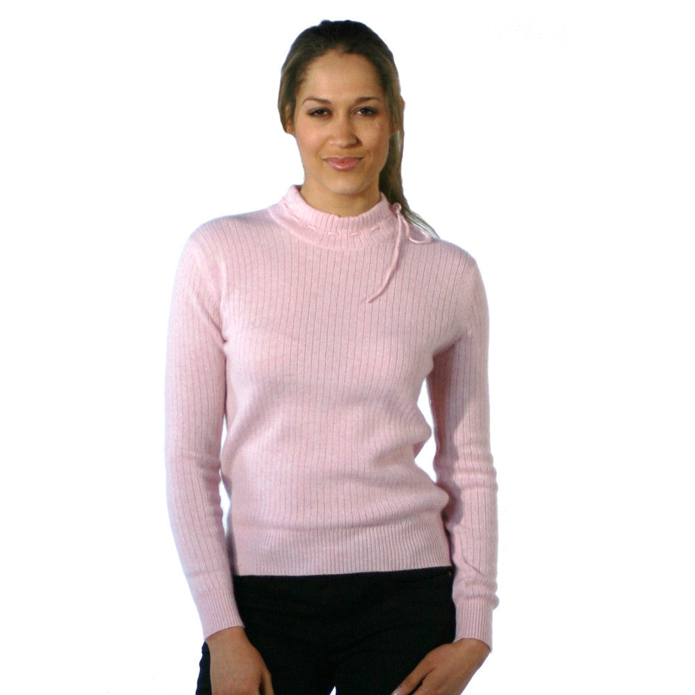 Mock Turtleneck Cashmere Jumper Baby Pink