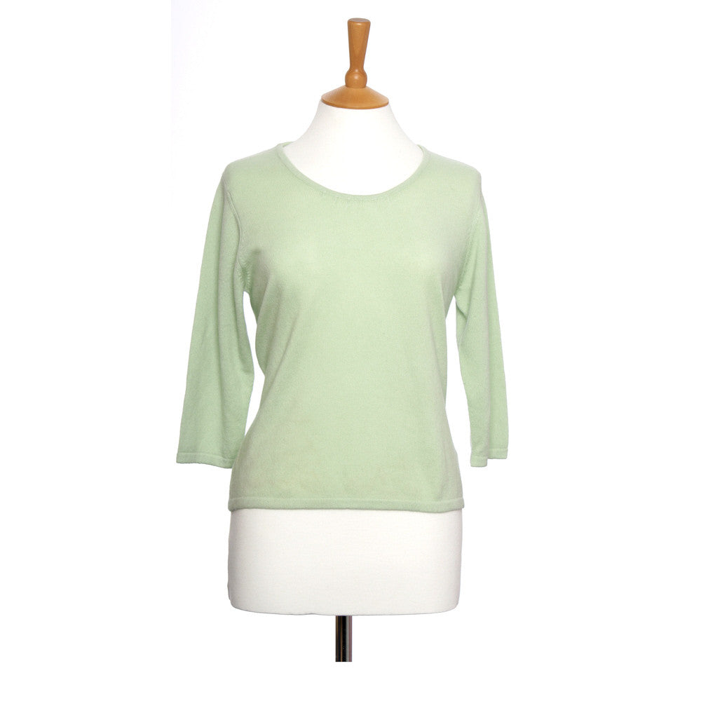 Ruched Neck Cashmere Jumper Pale Green