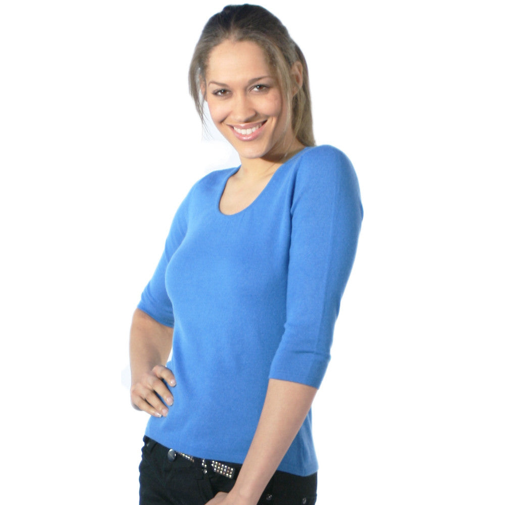 Ruched Neck Cashmere Jumper Slate Blue