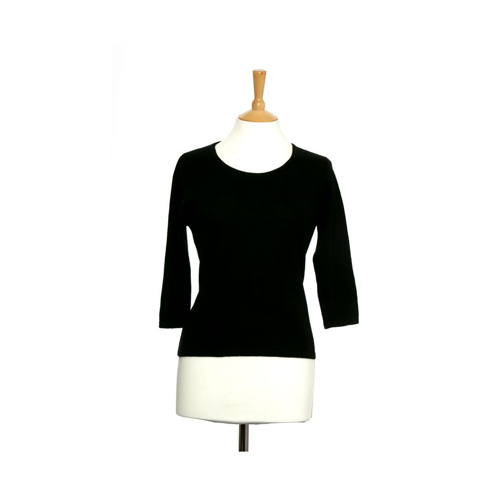 Ruched Neck Cashmere Jumper Black