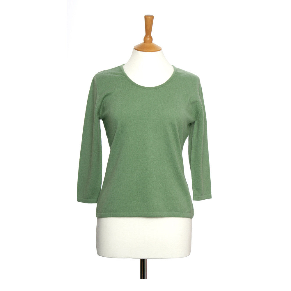Ruched Neck Cashmere Jumper Green