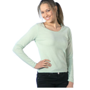 Scoop Neck Cashmere Jumpers Pale Green