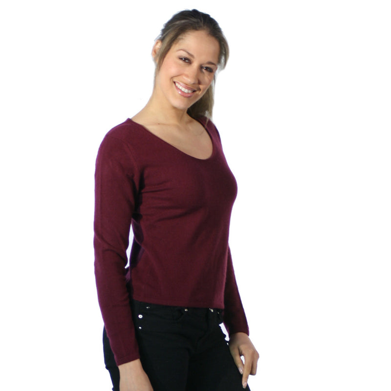 Scoop Neck Cashmere Jumpers Plum