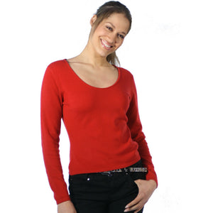 Scoop Neck Cashmere Jumpers Red