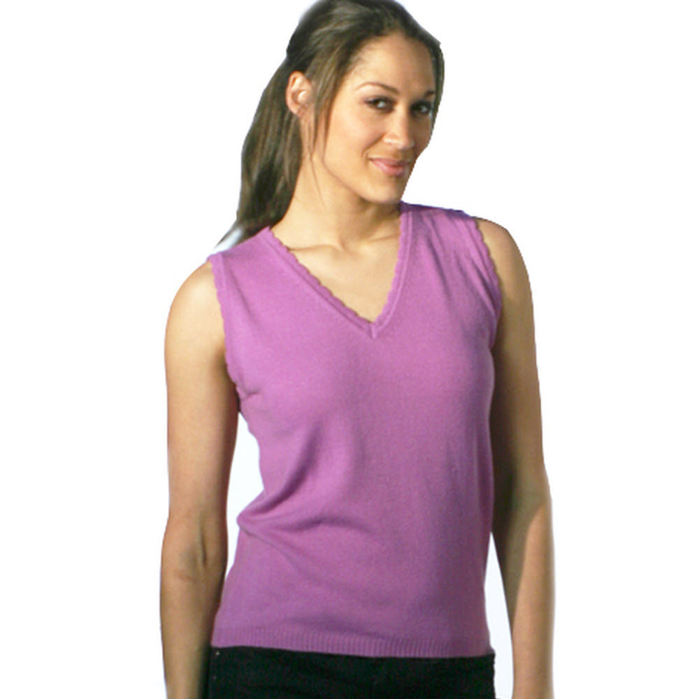 women's v neck vest top lilac