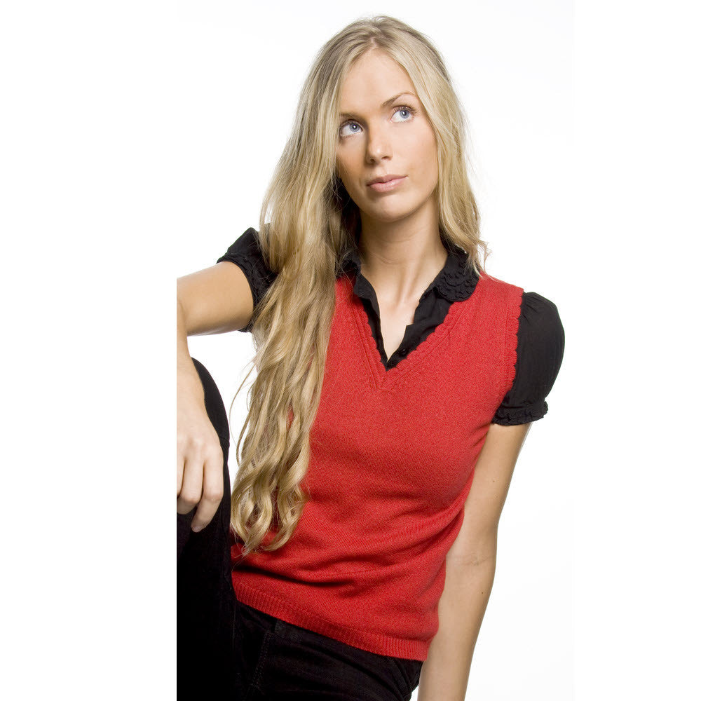 women's v neck vest top red admiral