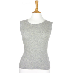 women's cashmere vest top round neck silver grey