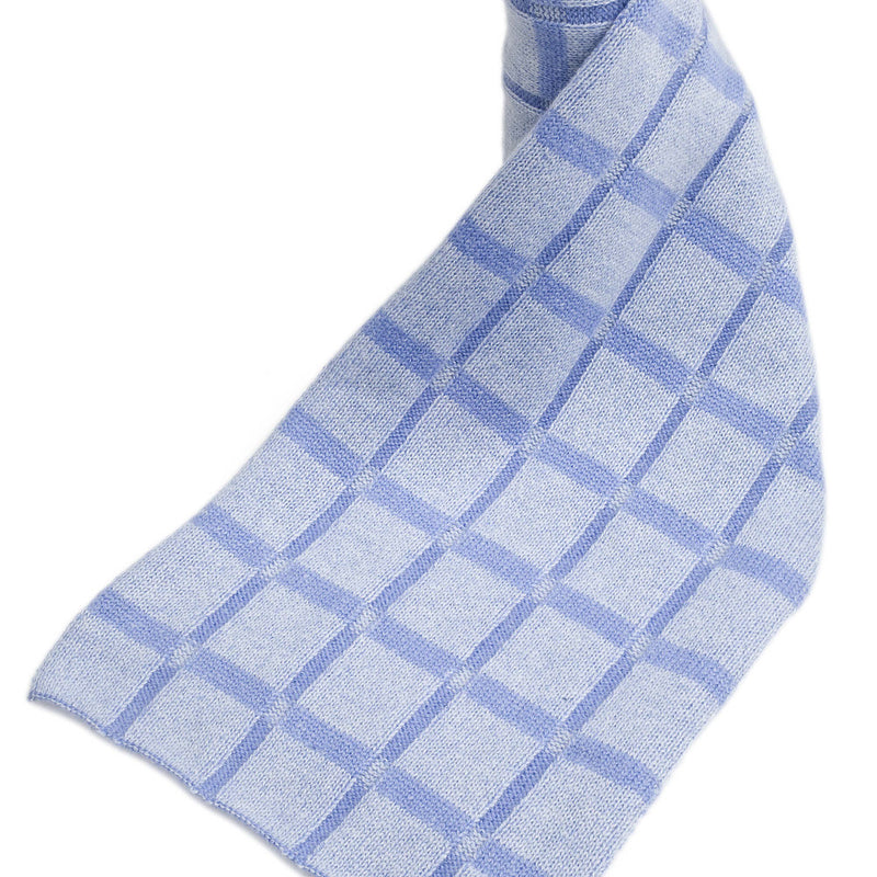 checkered cashmere scarves cornflower blue