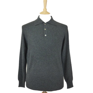 Pure Cashmere Polo Shirt Charcoal