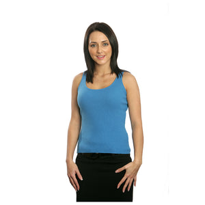 women's cashmere ribbed top slate blue