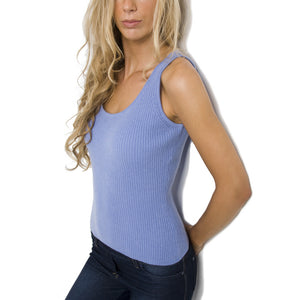 womens cashmere ribbed vest top cornflower blue