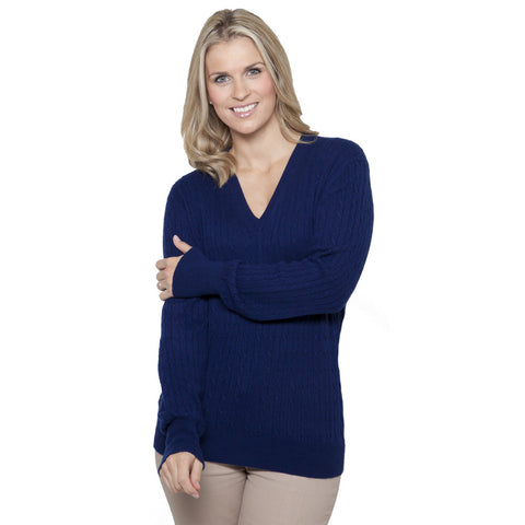 Women's V Neck Cable Knit Cashmere Jumper