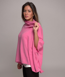 cowl neck cashmere poncho mixed sherbet